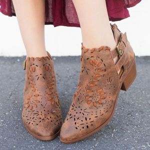 "DOLLY Cut Out ""Cowgirl"" Bootie - COGNAC"